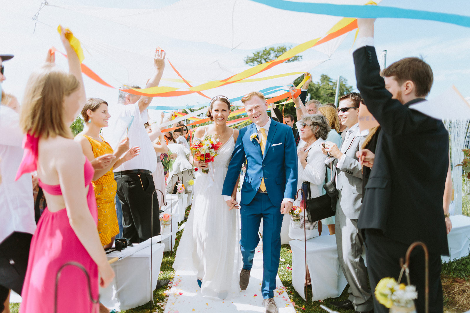 colorful vineyard wedding in austria