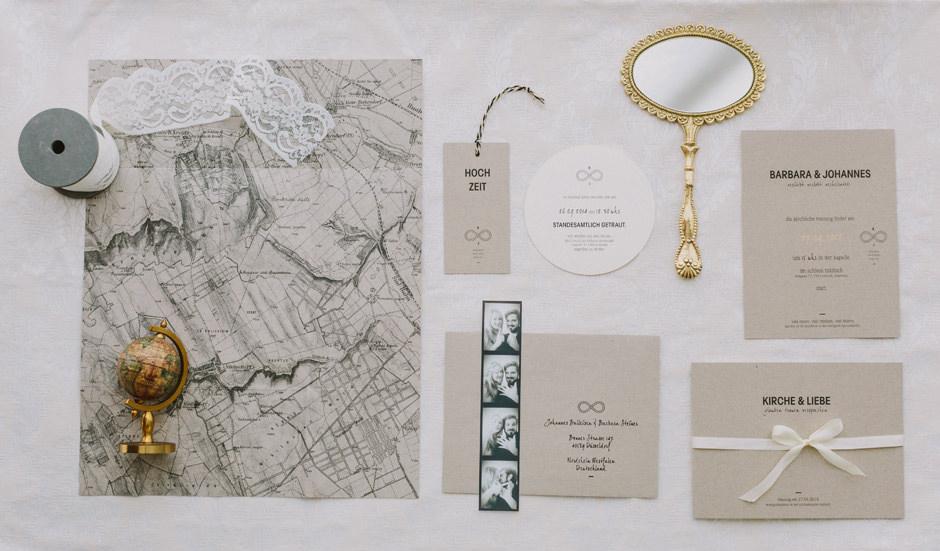 wedding invitation map kraft gold