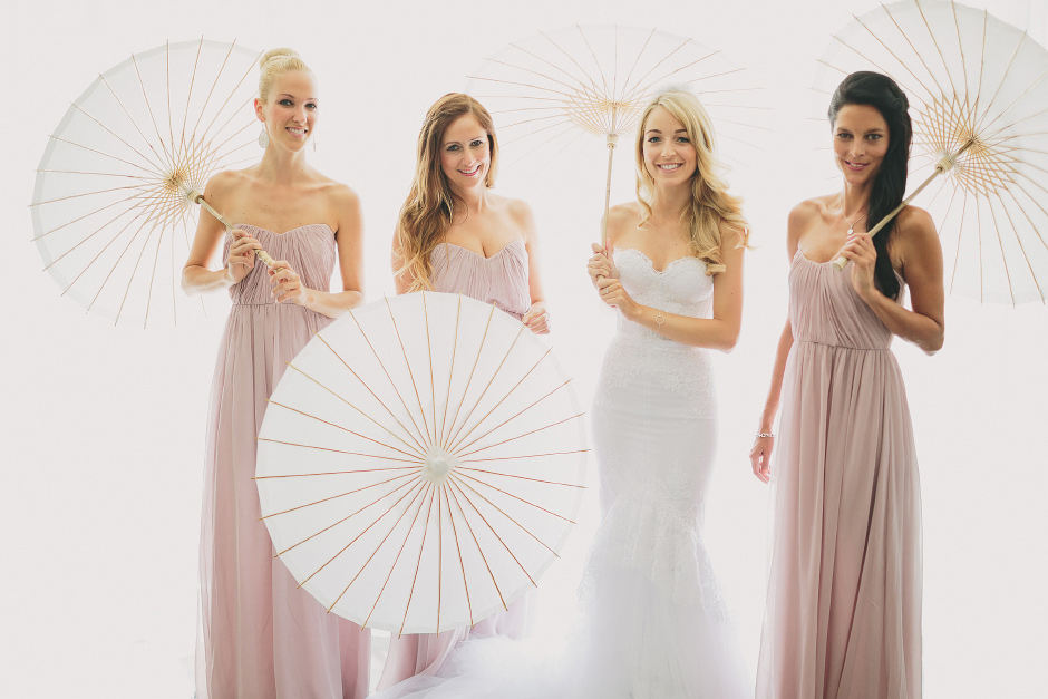 Bridesmaids paper umbrellas